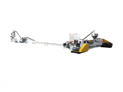 Extruding string cutting granulation line
